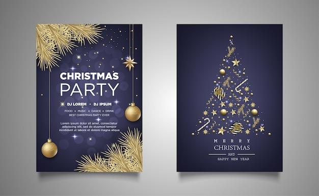 Kerstaffiche uitnodiging partij achtergrond met realistische decoratie Premium Vector