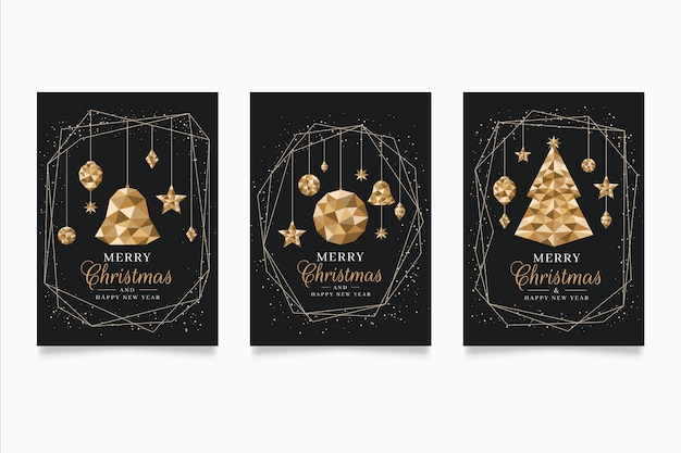 Kerstaffichemalplaatje in veelhoekige stijl Gratis Vector