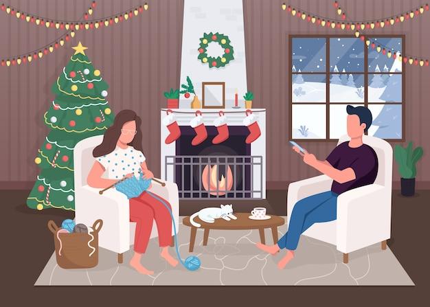 Kerstavond egale kleur. groenblijvende boom. hygge leven. zitten bij open haard. rustige 2d stripfiguren met traditioneel ingerichte kerst huis interieur op achtergrond Premium Vector