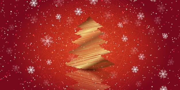 Kerstbanner met een gouden krabbelboomontwerp Gratis Vector