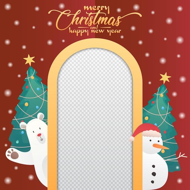 Kerstbanner met ijsbeer, sneeuwpop en leeg fotolijstje Premium Vector