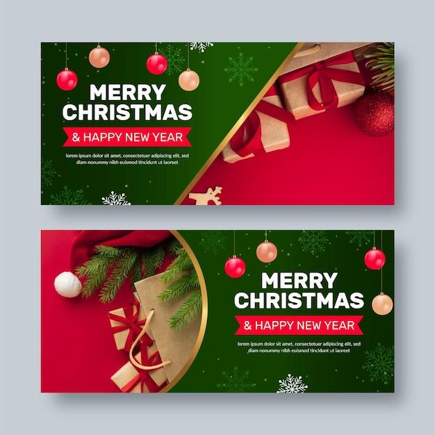 Kerstbanners met foto Gratis Vector
