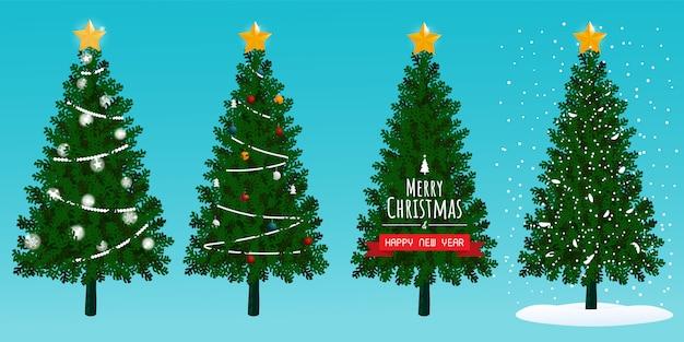 Kerstbomen instellen sneeuw vector Premium Vector
