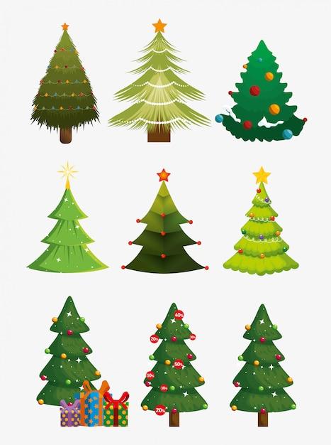 Kerstbomen met pictogrammen instellen Gratis Vector