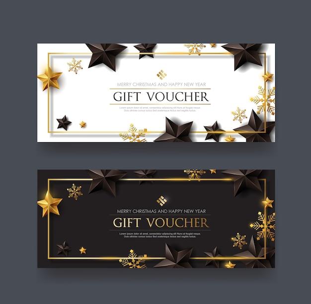 Kerstbon met zwarte gouden sterren en sneeuwvlok Premium Vector