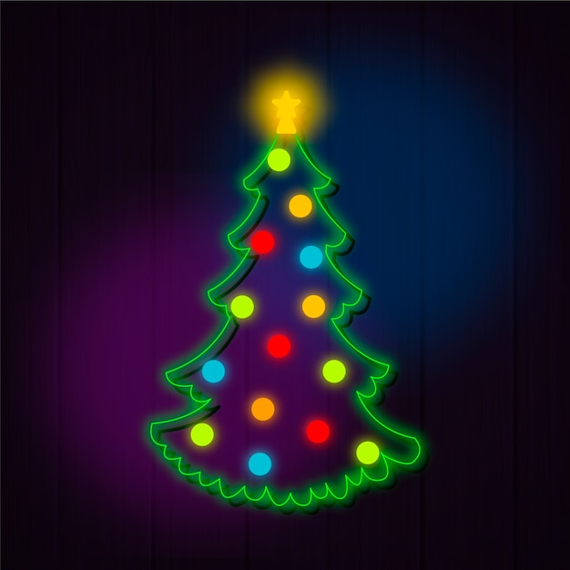 Kerstboom concept neon ontwerp Gratis Vector