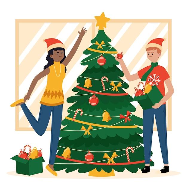 Kerstboom decoratiescène Gratis Vector