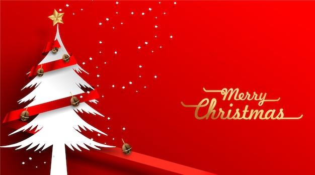 Kerstboom en koffiebonen decoratiemening van bovenaf met rode lintkaart Premium Vector