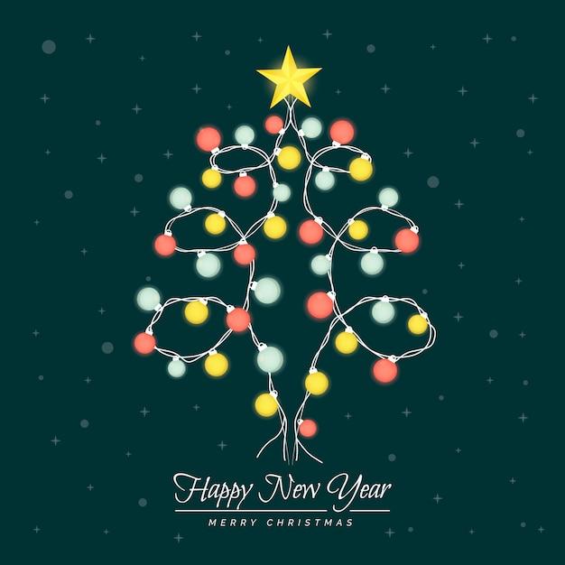 Kerstboom gemaakt van gloeilampen Gratis Vector