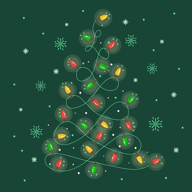 Kerstboom gemaakt van gloeilampenbehang Gratis Vector