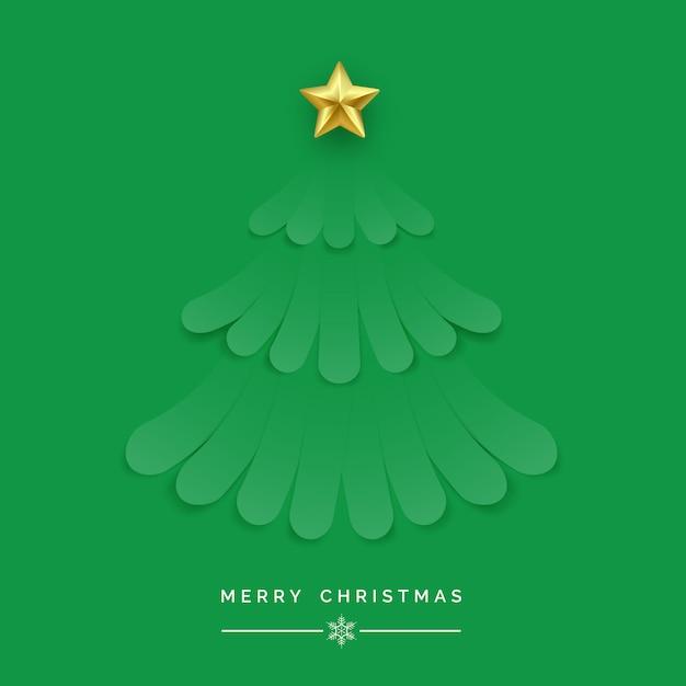 Kerstboom gemaakt van groene linten op groene achtergrond Premium Vector