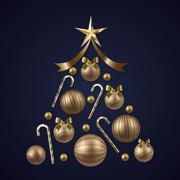 Kerstboom gemaakt van realistische gouden decoratie Gratis Vector