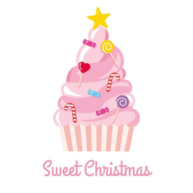 Kerstboom gemaakt van snoepjes en snoepjes vectorillustratie Premium Vector