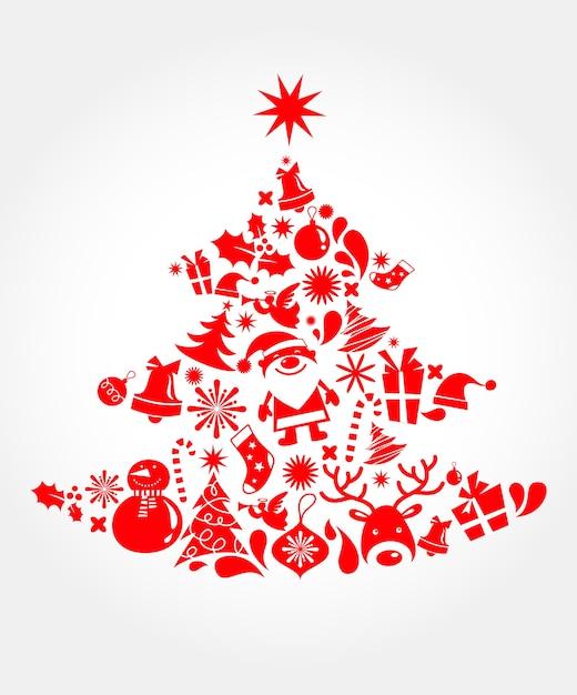 Kerstboom gemaakt van vele xmas iconen. Premium Vector
