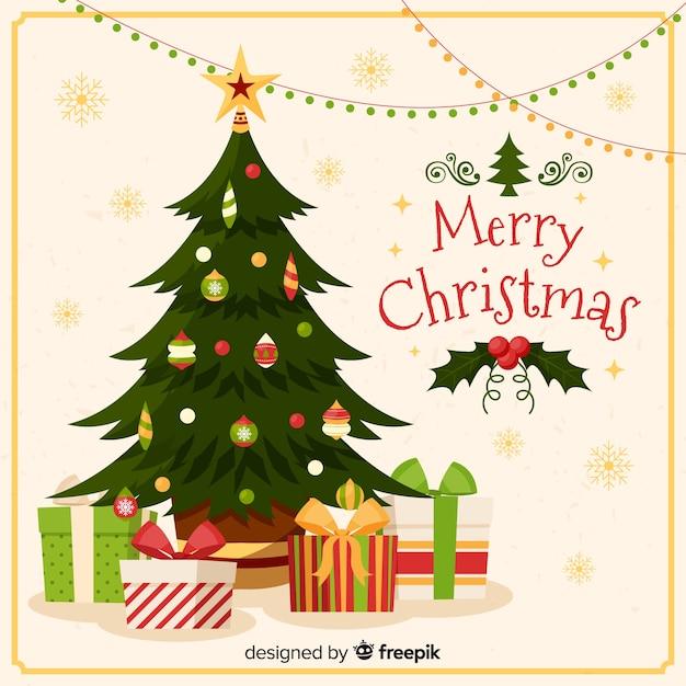Kerstboom geschenken achtergrond Gratis Vector