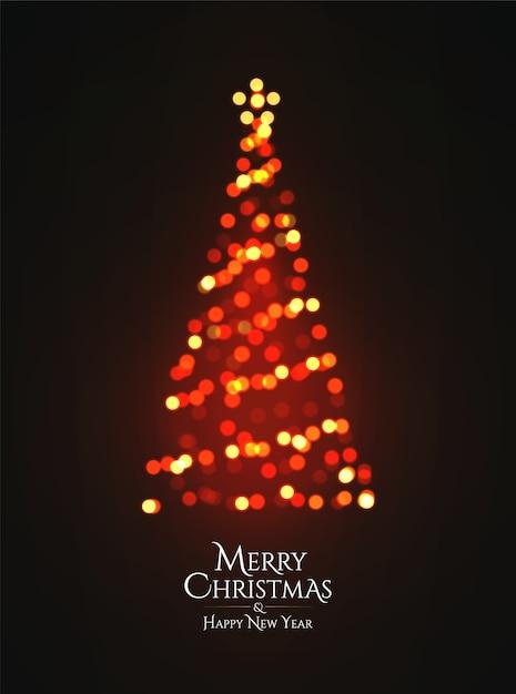 Kerstboom gloeiende garland bokeh silhouet op donkere achtergrond. Premium Vector