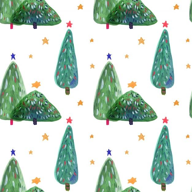 Kerstboom hand getekend aquarel naadloze patroon Premium Vector