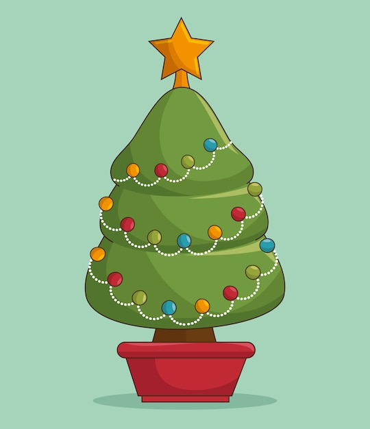 Kerstboom illustraties Gratis Vector