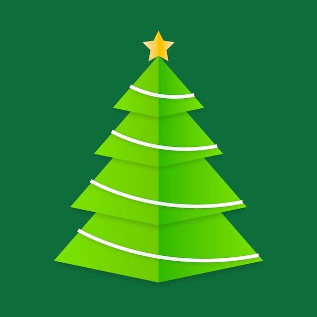 Kerstboom in papieren stijl Gratis Vector