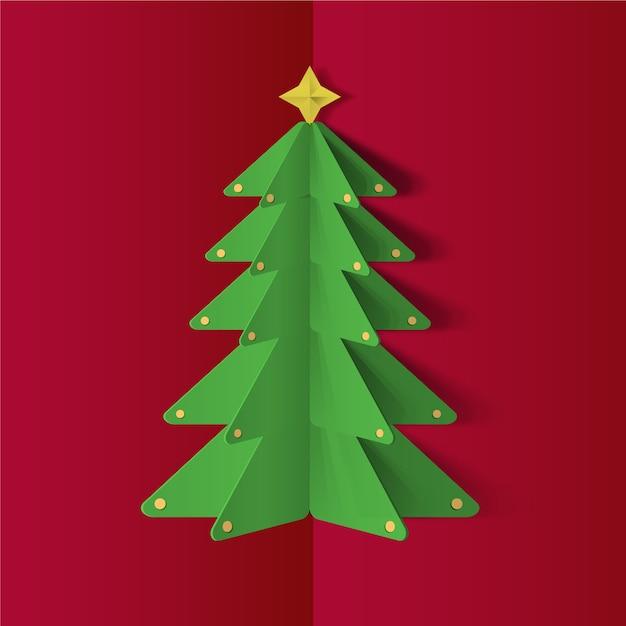 Kerstboom in papierstijl Gratis Vector