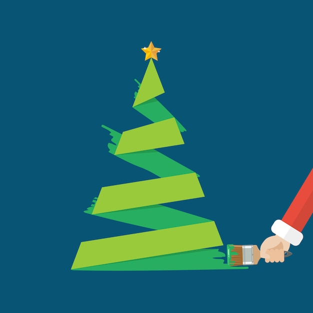 Kerstboom is geschilderd met een kwast Premium Vector