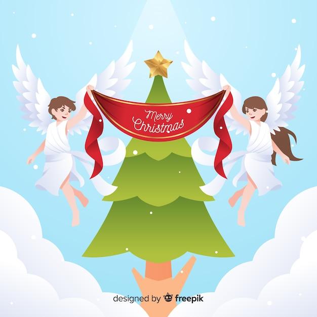 Kerstboom kerst engelen achtergrond Gratis Vector