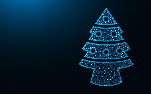 Kerstboom laag poly ontwerp, sparren met speelgoed abstracte geometrische afbeelding, draadframe mesh veelhoekige vector illustratie gemaakt van punten en lijnen Premium Vector