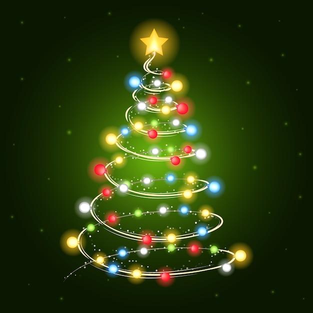 Kerstboom met gloeilampen Gratis Vector