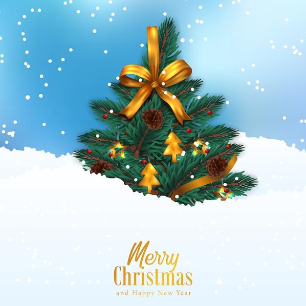 Kerstboom met gouden lintdecoratie op de sneeuw en het hemelsblauw Premium Vector