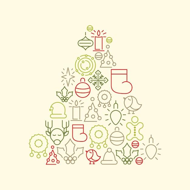 Kerstboom met kleurrijke kerst iconen Gratis Vector