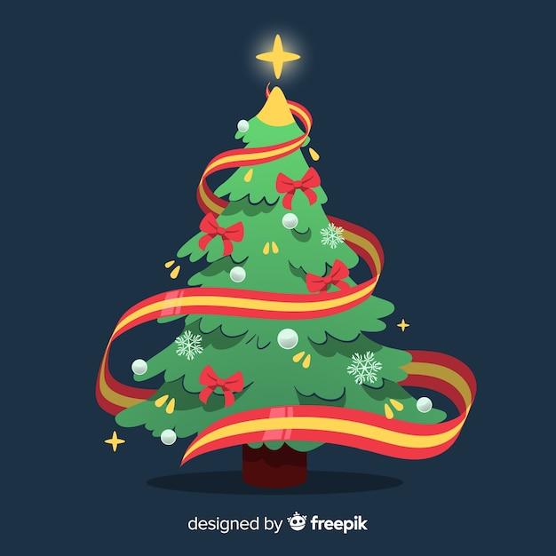 Kerstboom met lintillustratie Gratis Vector