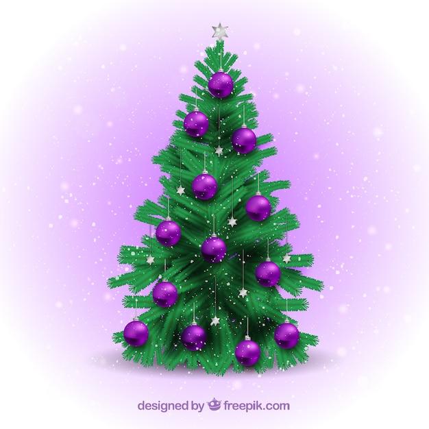 Kerstboom Met Paarse Ballen Vector Gratis Download