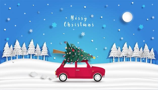 Kerstboom staat op de rode auto en het ontwerp van origami of papier snijden achtergrond Premium Vector