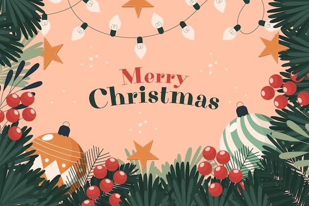Kerstboom takken achtergrond met groet Gratis Vector