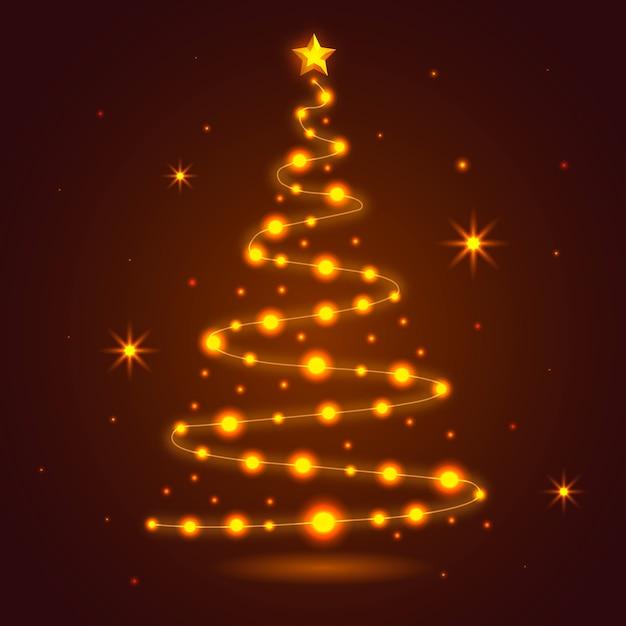 Kerstboom van gloeilampenachtergrond die wordt gemaakt Gratis Vector