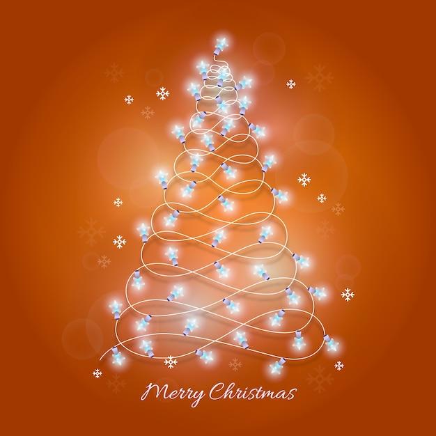 Kerstboom van gloeilampenillustratie die wordt gemaakt Gratis Vector