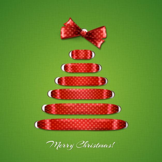 Kerstboom van rood lint achtergrond. Premium Vector