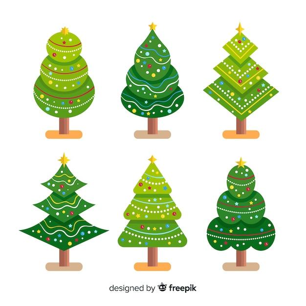 Kerstboomcollectie in plat ontwerp Gratis Vector