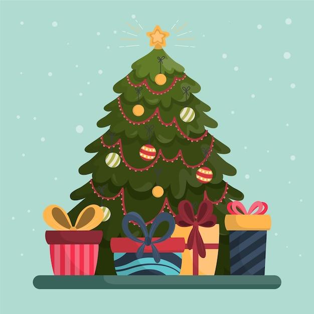 Kerstboomconcept met 2d effect Gratis Vector