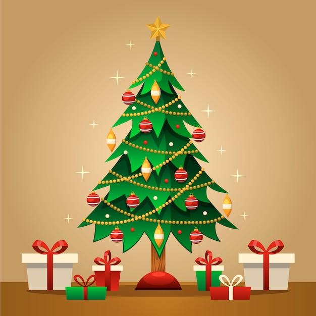 Kerstboomconcept met 2d ontwerp Gratis Vector