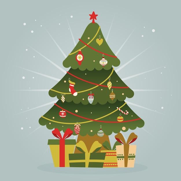 Kerstboomconcept met uitstekend ontwerp Gratis Vector