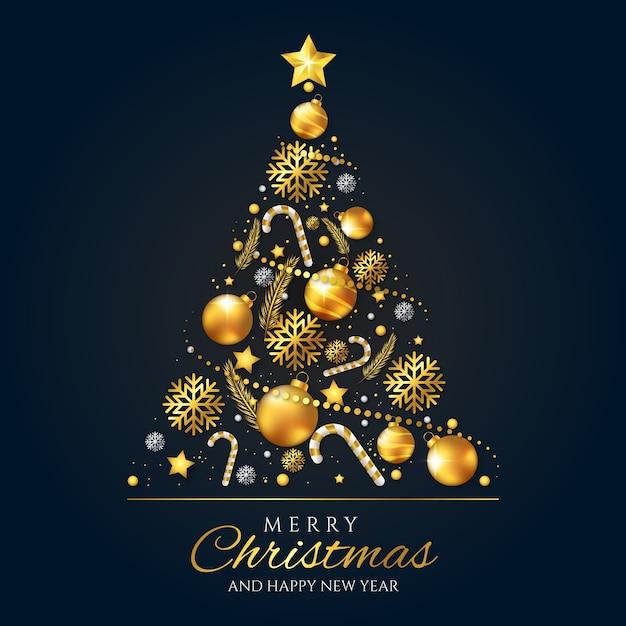 Kerstboomconcept van realistische gouden decoratie wordt gemaakt die Gratis Vector