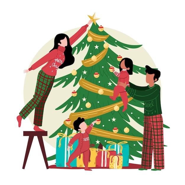 Kerstboomdecoratie met familie Gratis Vector