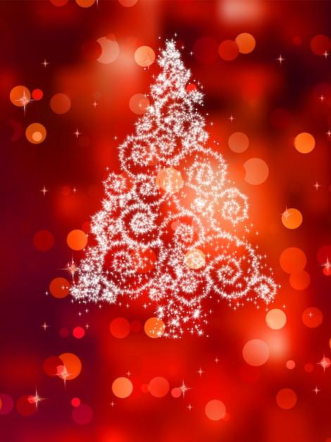 Kerstboomillustratie op rood. Premium Vector