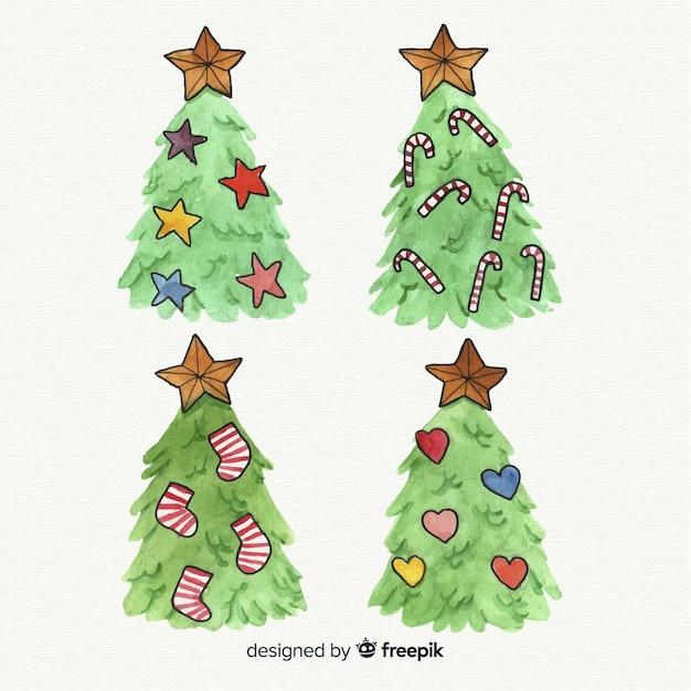 Kerstboominzameling ter beschikking getrokken stijl Gratis Vector