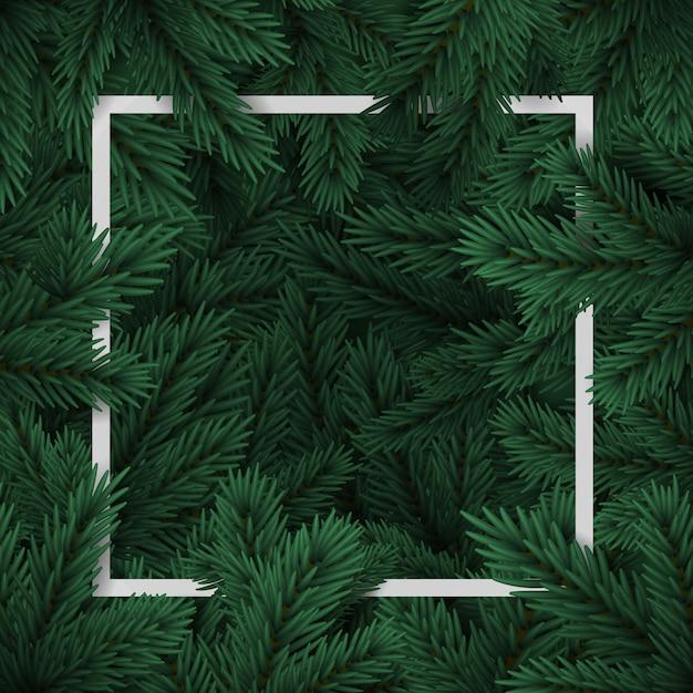 Kerstboomtakken. holiday's gelukkig nieuwjaar. kerstboom frame. banner, bericht Premium Vector