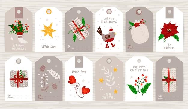 Kerstcadeaukaartje met schattige ilustration en vakantiewensen Premium Vector