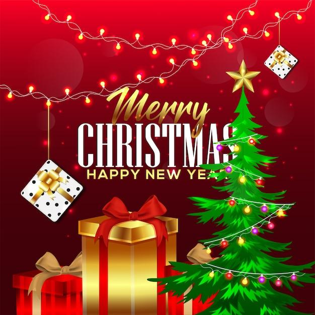 Kerstcadeaus en decoraties met cadeau Premium Vector