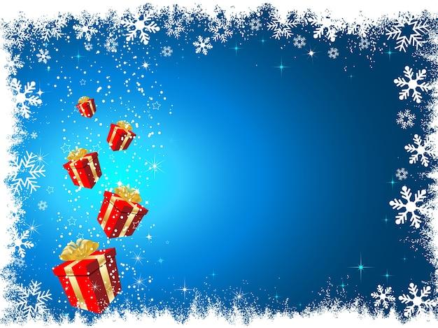 Kerstcadeaus op besneeuwde achtergrond Gratis Vector