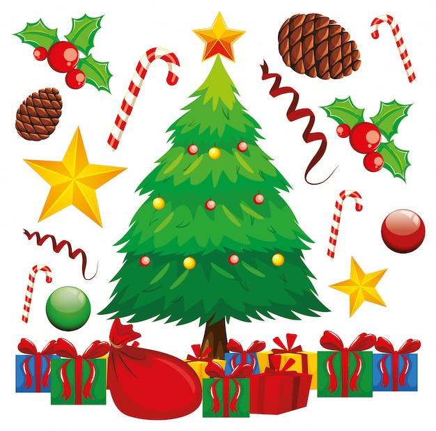Kerstcadeautjes onder de kerstboom Gratis Vector